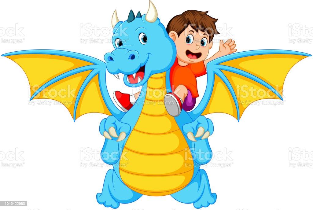 De Blauwe Draak.De Jongen Speelt Met De Grote Blauwe Draak En Het Kan Produceren Het