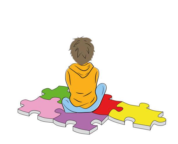 ilustraciones, imágenes clip art, dibujos animados e iconos de stock de el niño se sienta en el símbolo del rompecabezas del autismo. ilustración de vector. - autism