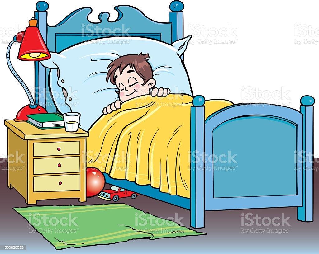 The boy sleeps vector art illustration