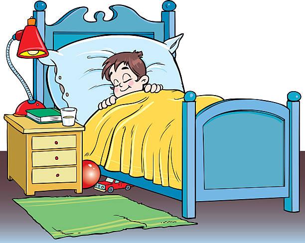 Kid Sleeping In Bed Clipart