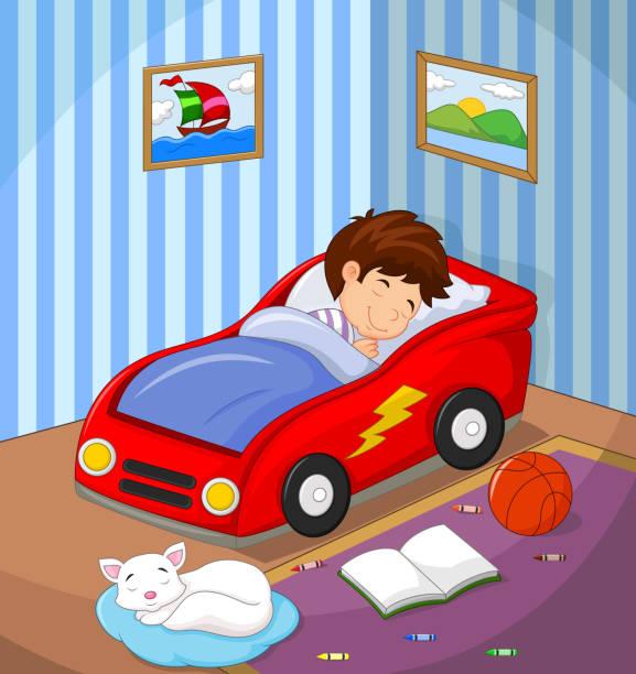 illustrations, cliparts, dessins animés et icônes de le garçon endormi dans la voiture lit - child car sleep