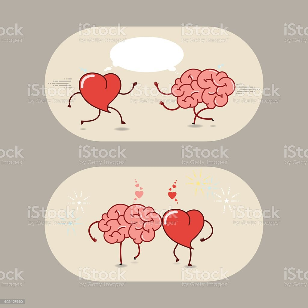 The Brain And The Heart Of Love Friendship Cartoon Icons Stock ...