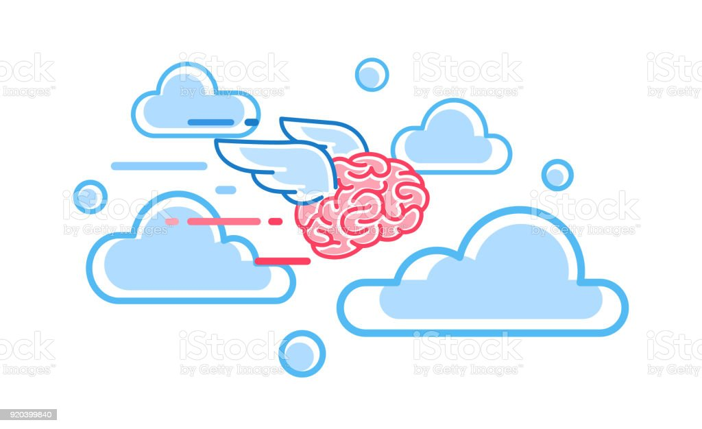 The brain flies among the clouds vector illustration vector art illustration