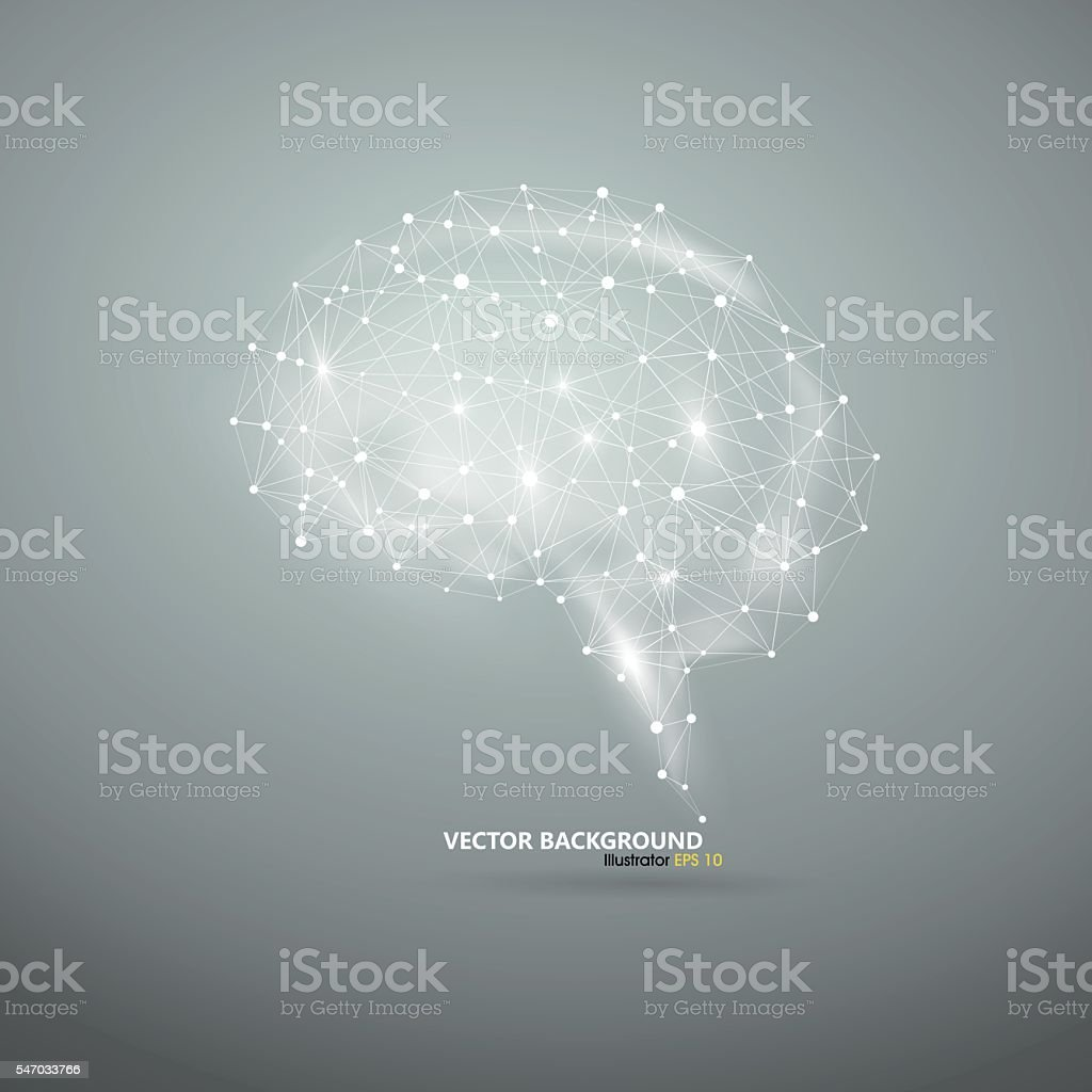 The brain pattern of dots and lines. vector art illustration