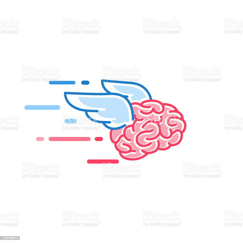 The brain with wings flies vector illustration. Brains of the dreamer vector art illustration