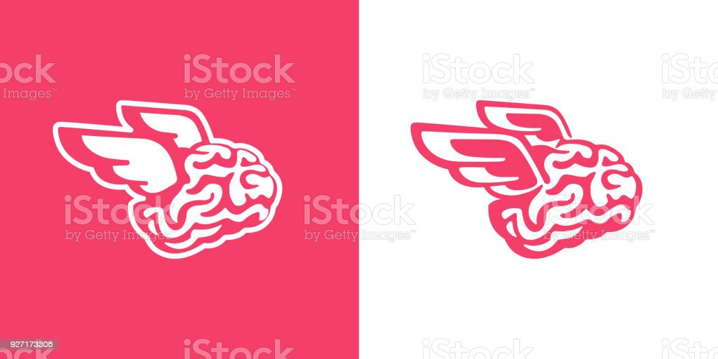 The brain with wings flies vector illustration vector art illustration