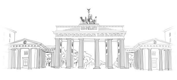 ilustrações de stock, clip art, desenhos animados e ícones de o portão de brandemburgo, em berlim. - berlin wall