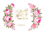 Red rose flower wreath with calligraphic text for bridal shower invitation. Vector illustration.