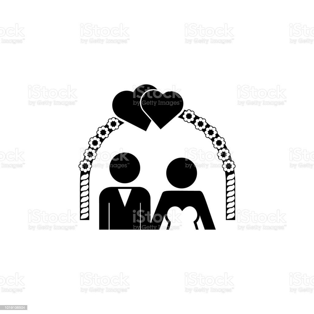 Die Braut Und Brautigam Nach Der Hochzeit Bogen Symbol
