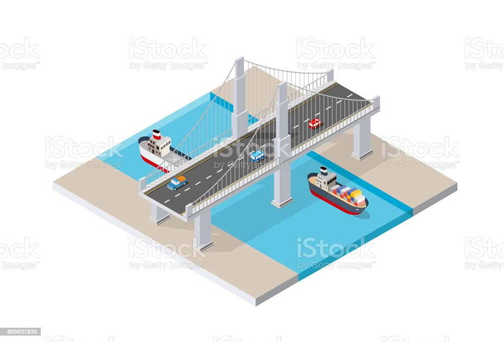 The bridge skyway vector art illustration