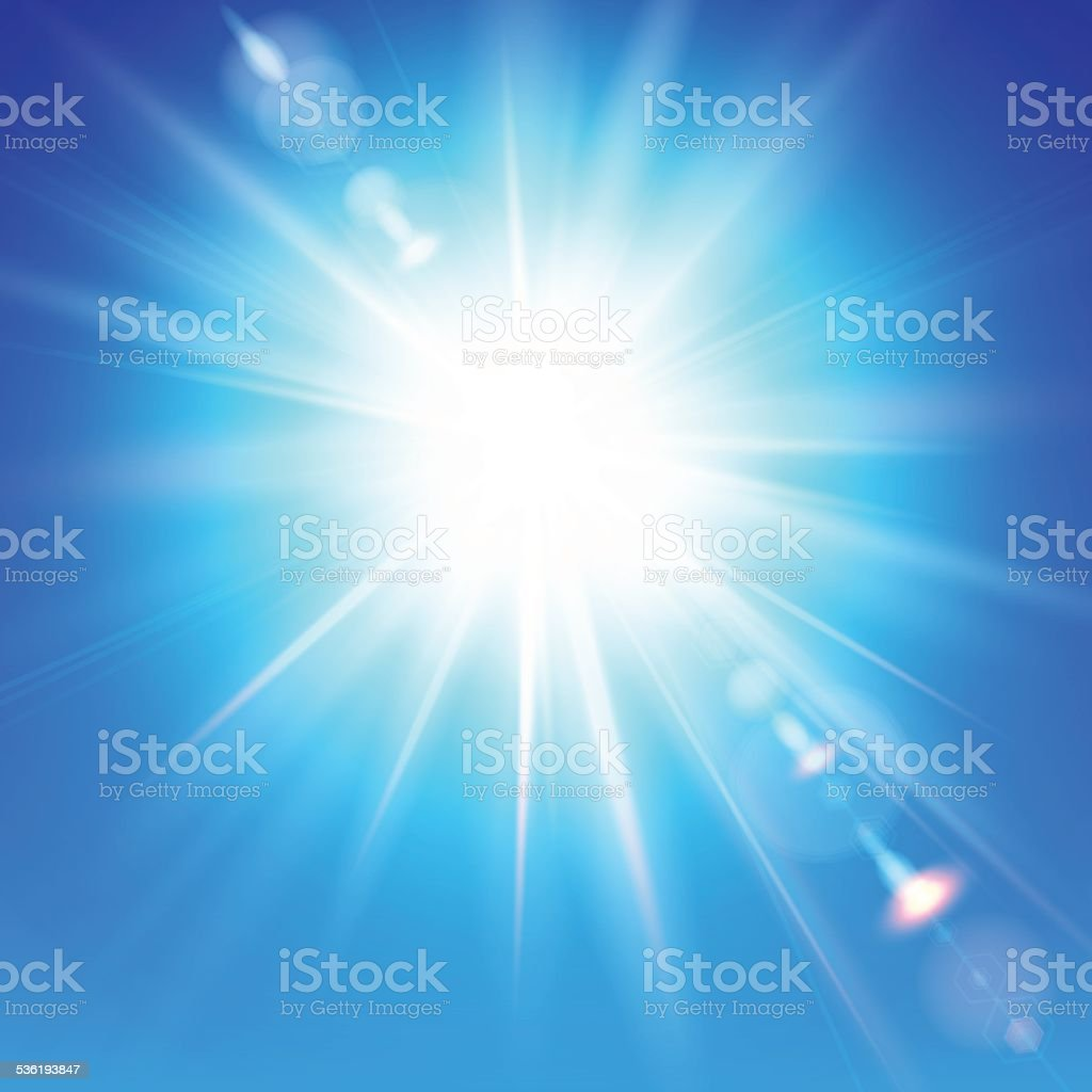 The bright sun shines on a blue sky background vector art illustration
