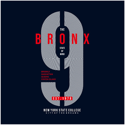 the bronx graphic typography t shirt design, vector vintage illustration artistic art