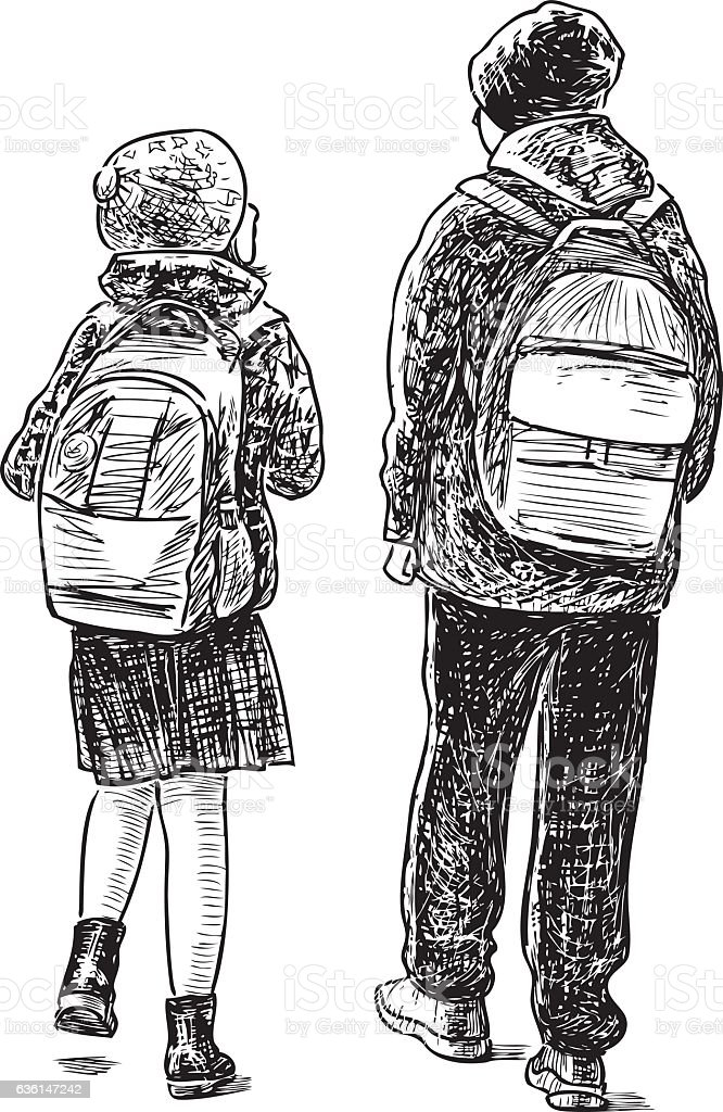 the brother and the sister go home from school vector art illustration