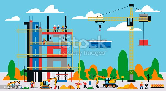 istock The building is under construction. The process of work of builders at a construction site. Transport, equipment, builders, crane, tools, building site, telehandler, foreman. Vector illustration 1316629378