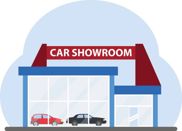 The building of a car showroom The building of a car showroom. Flat design, vector illustration, vector. showroom stock illustrations