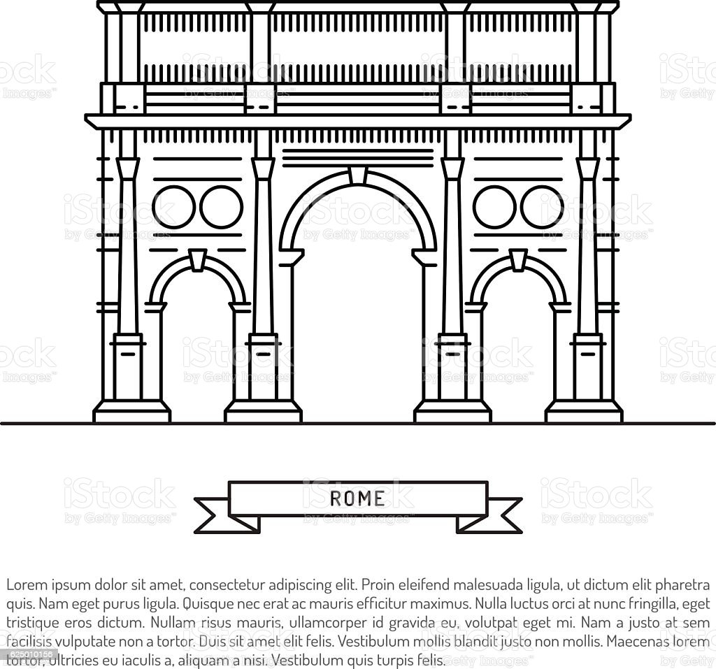 the building of Rome vector art illustration