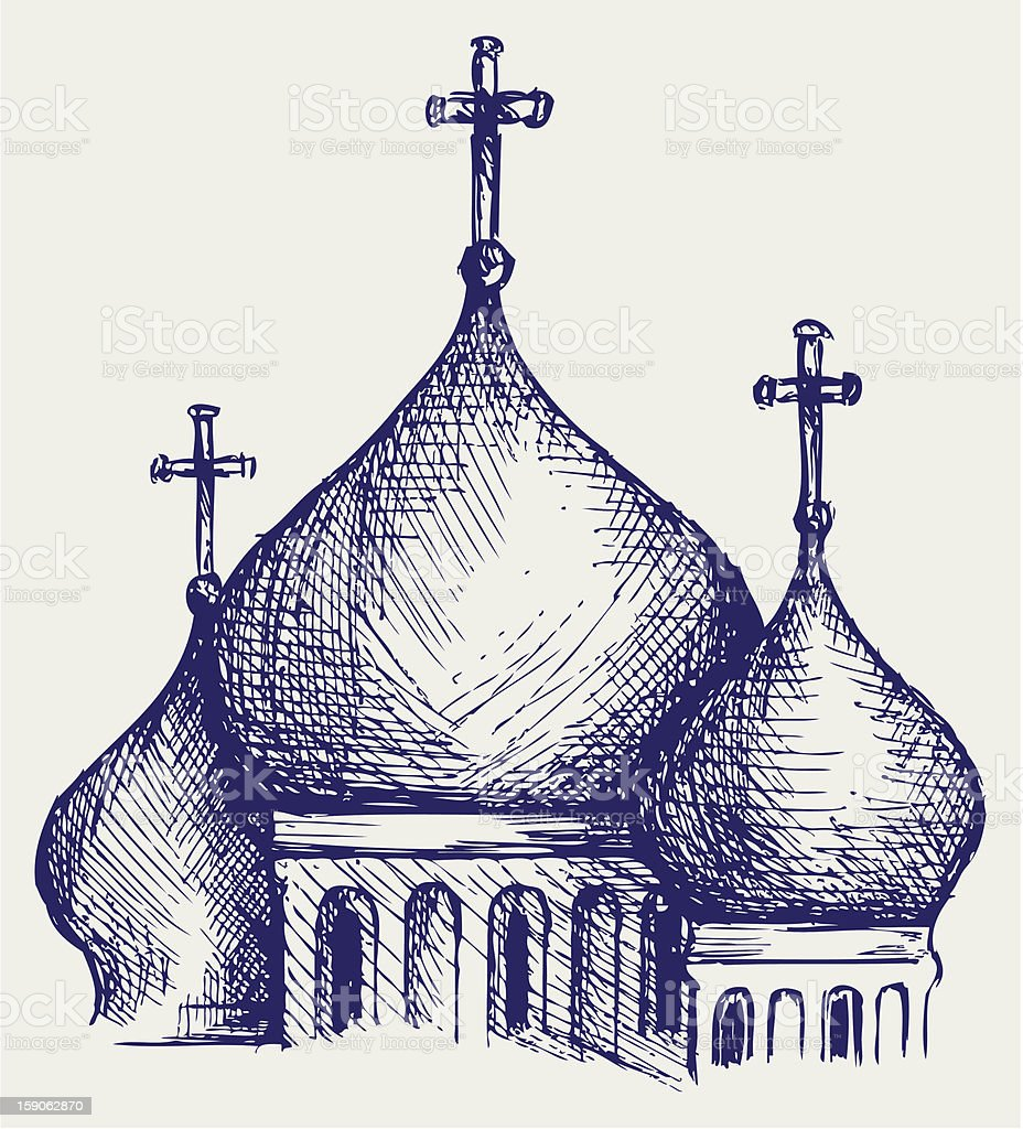The bulbous domes of orthodox cathedral temple royalty-free stock vector art