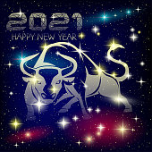 The bull in the starry sky is the symbol of the Chinese New Year 2021.