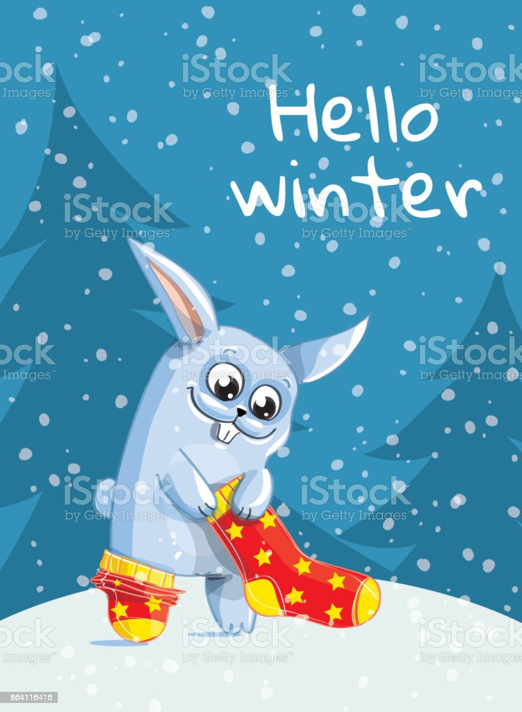 The Bunny puts red socks on. Hello winter royalty-free the bunny puts red socks on hello winter stock vector art & more images of animal