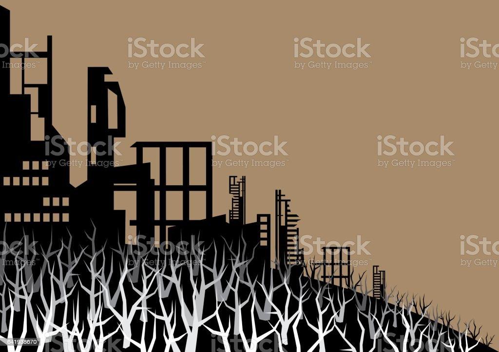 the burned city vector art illustration