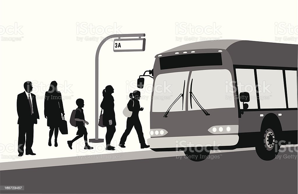 The Bus Stops Vector Silhouette royalty-free stock vector art