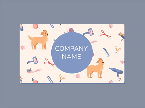 The business card of a dog grooming company. Golden Retriever and grooming products, shampoos, wire cutters, combs, scissors. Illustrations in cartoon style, Vector isolated on white background