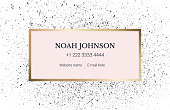 Design business card template in minimalist style. Spattered background with ink. Drops of paint. Art black texture. Vector. Strict style.