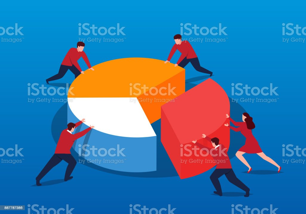 The business team pieced together pie charts together vector art illustration