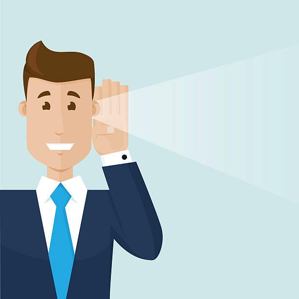 illustrazioni stock, clip art, cartoni animati e icone di tendenza di l'uomo d'affari ascoltando una buona notizia - ear talking