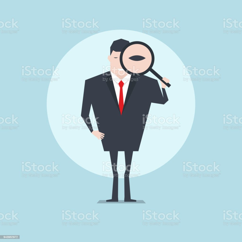 The businessman holding a magnifying glass and looking through a magnifying glass. vector art illustration