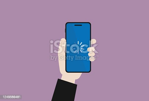 istock The businessman holds a mobile phone with a download symbol 1249586481