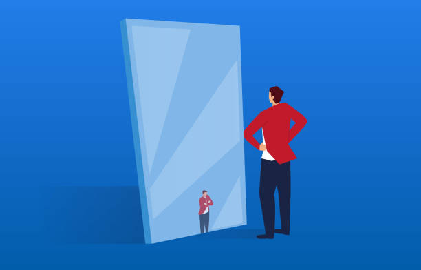 illustrations, cliparts, dessins animés et icônes de l'homme d'affaires dans le miroir est devenu petit - miroir