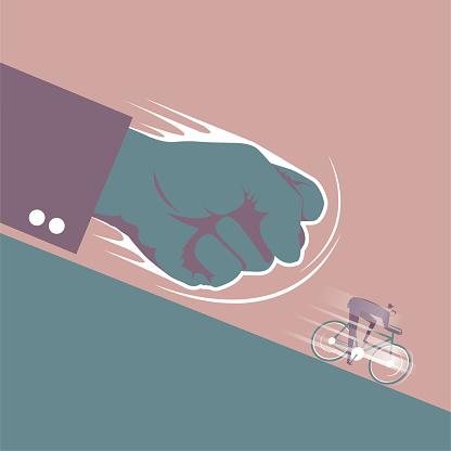 The businessman on the bike ran away under a huge fist.