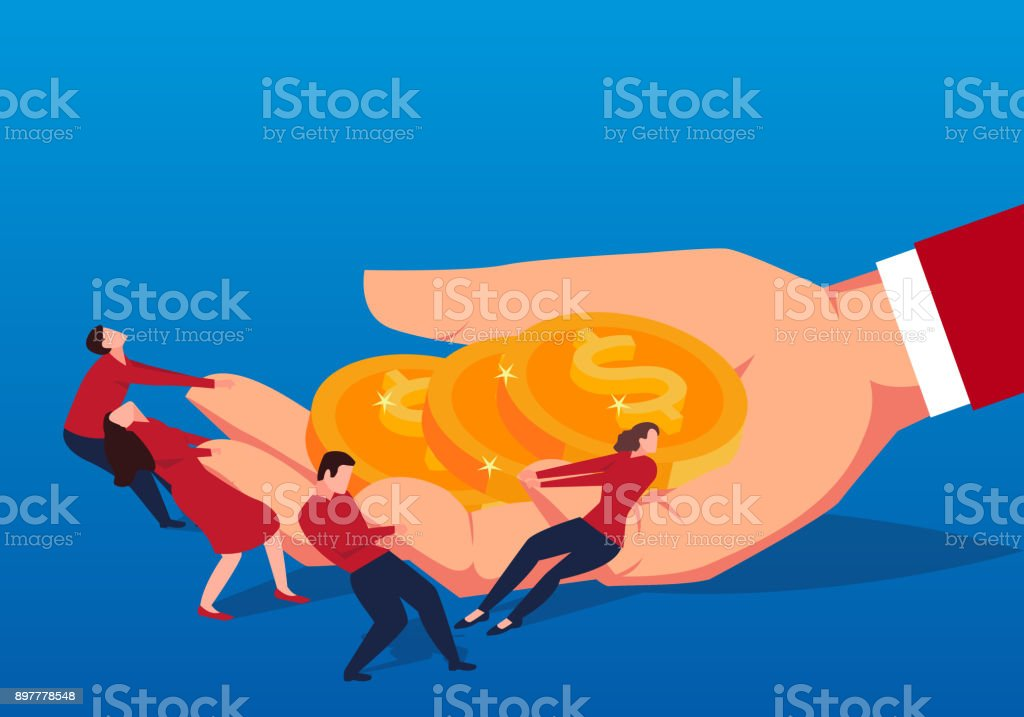The businessman opened the huge hand and tried to take away the money in his hand vector art illustration