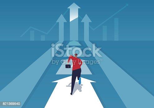 The businessman running on the arrow