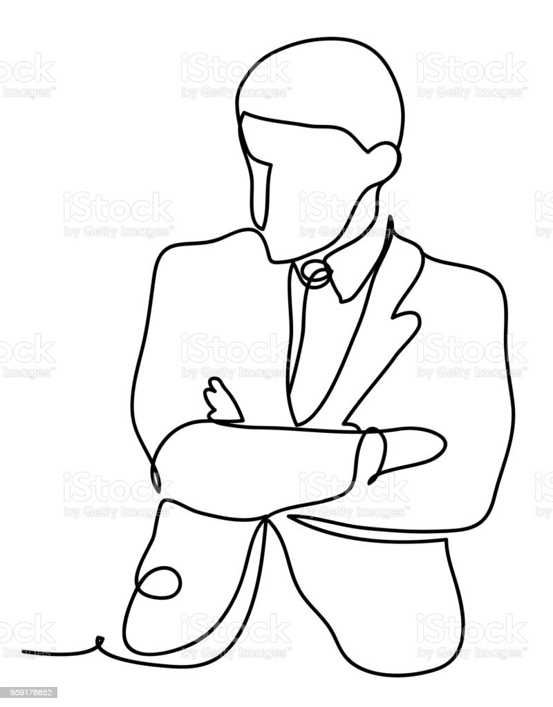 The businessman thinks. Business concept illustration. Continuous line drawing. Isolated on the white background. Vector illustration monochrome, drawing by lines vector art illustration