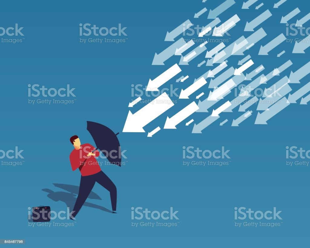 The businessman used the umbrella to resist the falling arrow vector art illustration