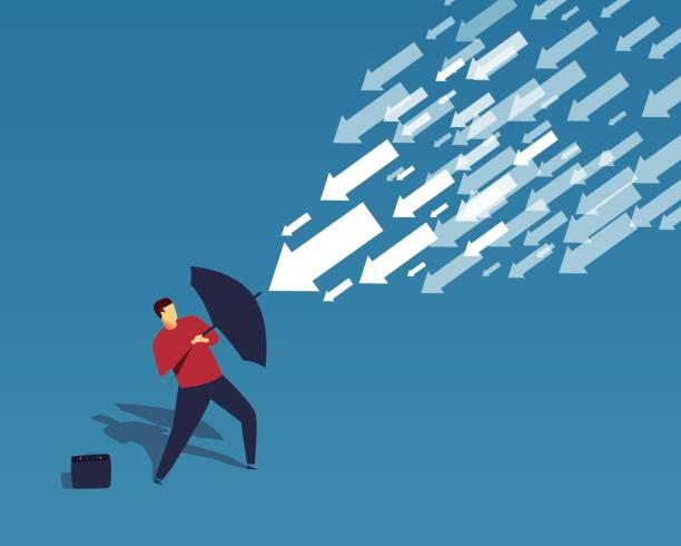 der geschäftsmann verwendet den regenschirm, den fallenden pfeil zu widerstehen - abwehr stock-grafiken, -clipart, -cartoons und -symbole