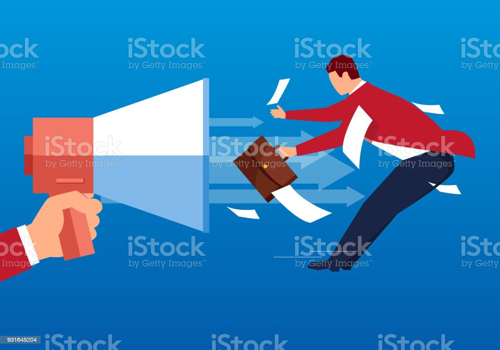 The businessman was bombard by the horn vector art illustration