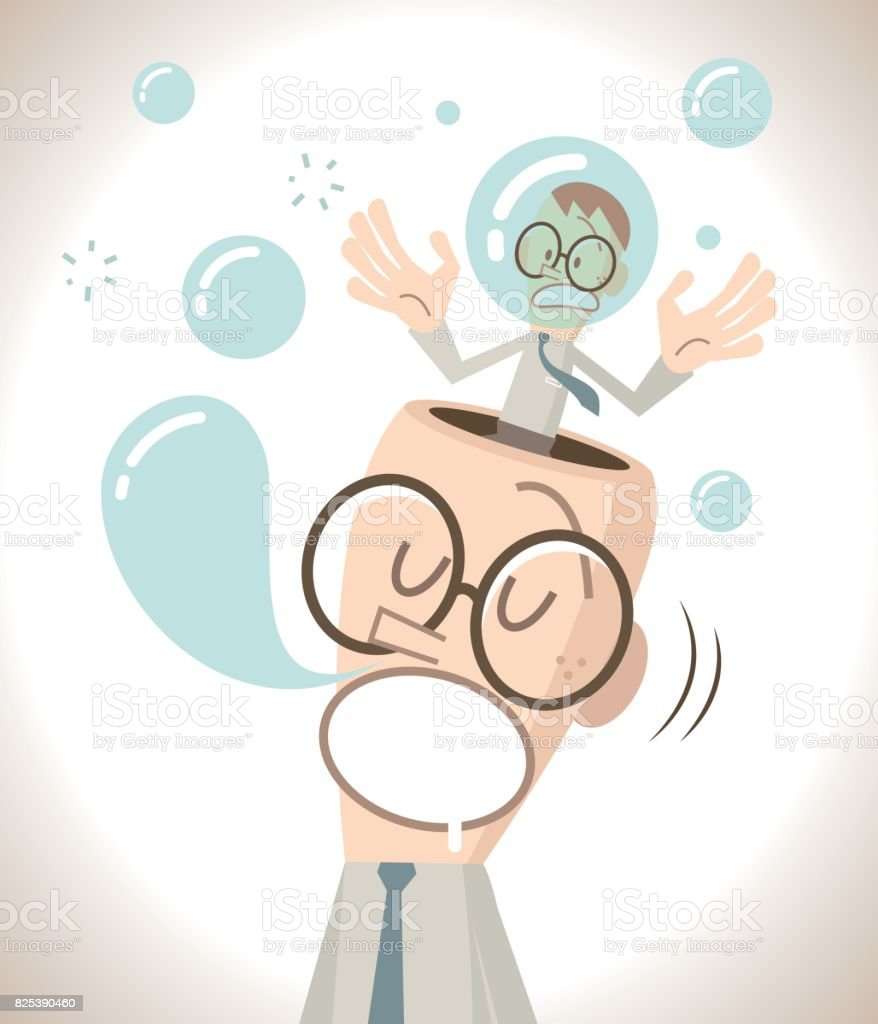 The businessman with open head is sleeping (napping) and snoring, the little man inside of the head is nervous vector art illustration