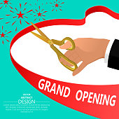 The businessman's hand with gold scissors. Ceremonial opening. Beginning. Festive poster.3D. Isometry. Vector illustration.