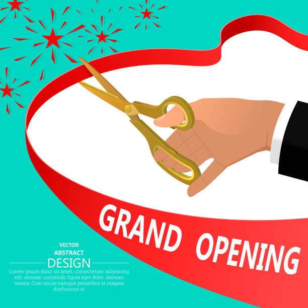 ilustraciones, imágenes clip art, dibujos animados e iconos de stock de la mano del empresario con tijeras de oro - gran inauguración