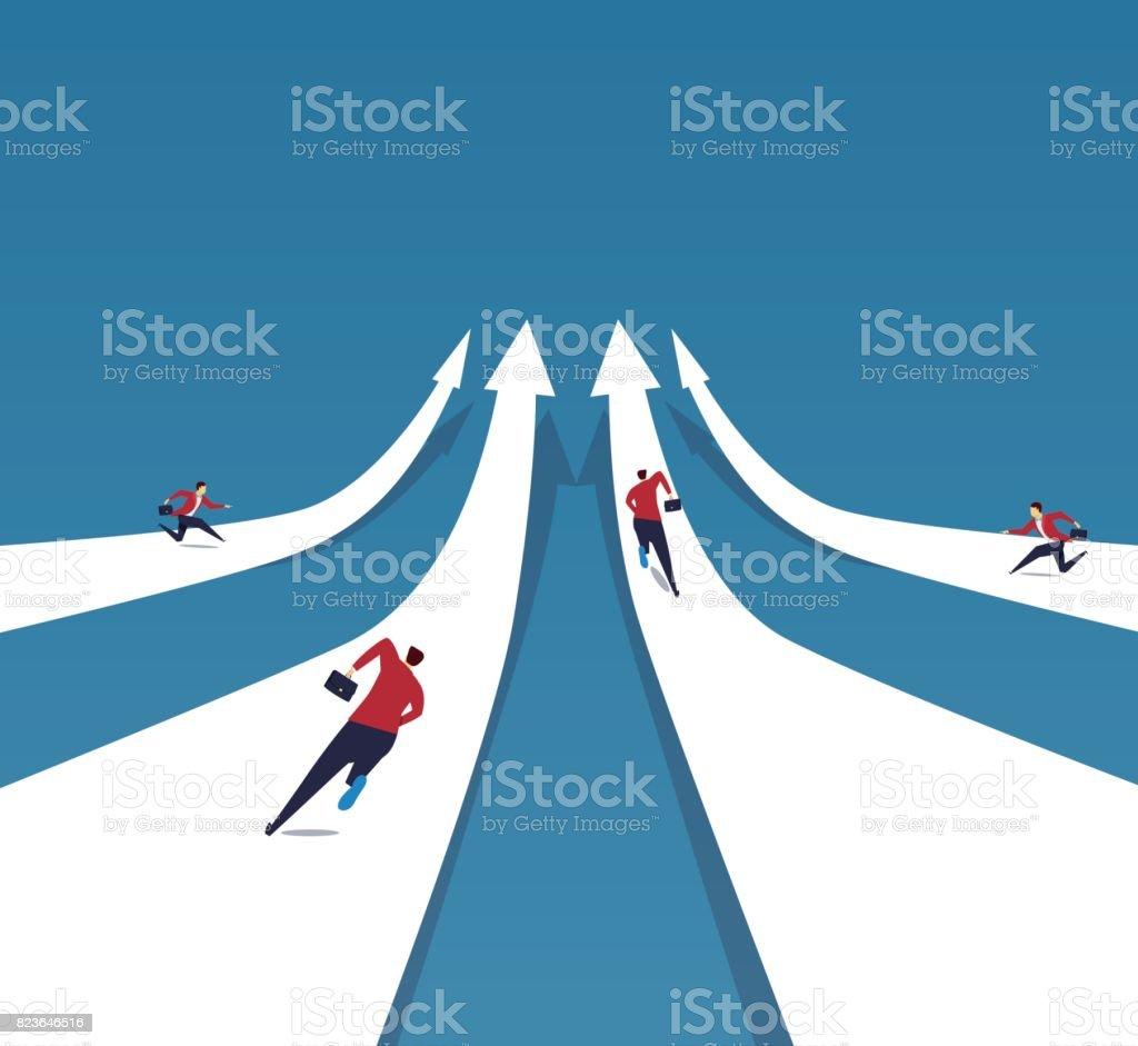 The businessmen rushed to the top with the arrows vector art illustration