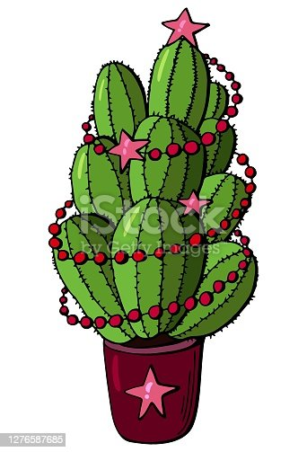 The cactus is decorated with festive garlands and stars. White background, insulator. Cartoon style. Stock illustration.