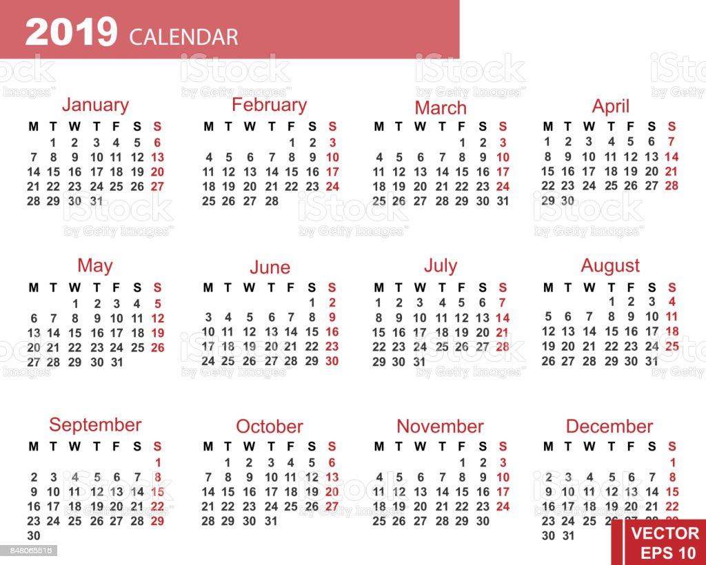 ilustración de el calendario año nuevo 2019 fecha para su diseño y