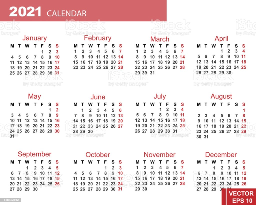 The Calendar New Year 2021 Date For Your Design Stock Illustration