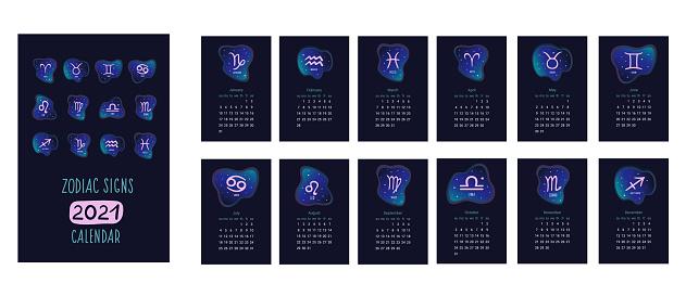 Ilustración de El Calendario Calendario Del Zodíaco 2021