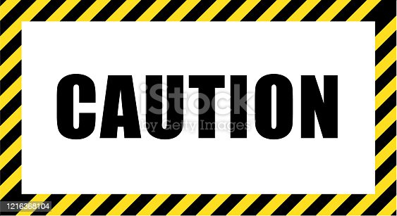 The call for caution in striking black and yellow striped frame. Design with attention icon for banner or poster or signboard. Danger warning.