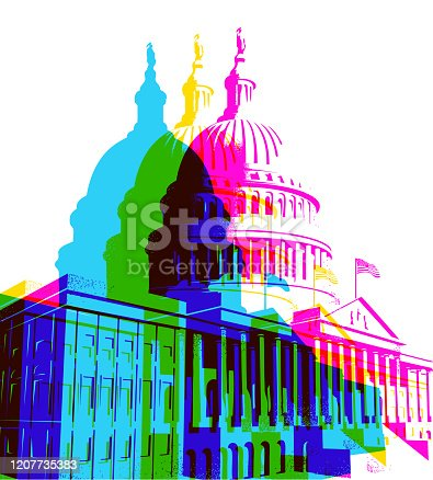 Posterised Pop Art styled of the Capitol Building