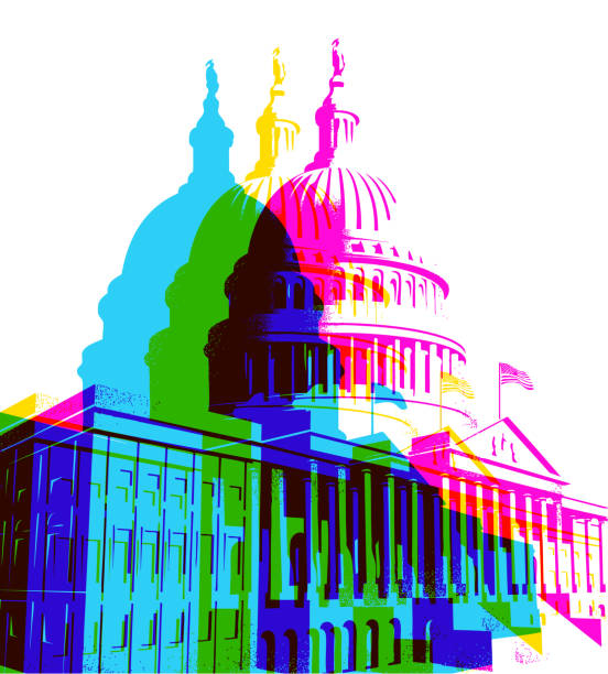 The Capitol Building in Washington DC Posterised Pop Art styled of the Capitol Building inauguration stock illustrations